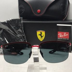 New Rayban Ferrari RB4322M Black/Red/Gray Lens
